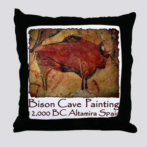 cave bison spain Throw Pillow