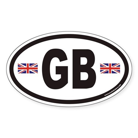 Great Britain Euro Oval Sticker with Flags