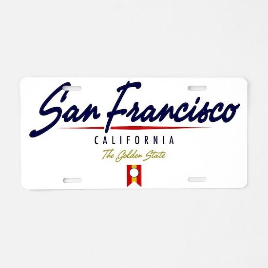 San Francisco Script W Aluminum License Plate