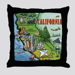 California Map Blanket Throw Pillow