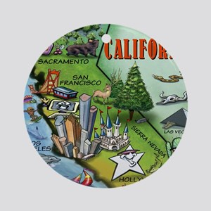 California Map Blanket Round Ornament