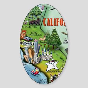 California Map Blanket Sticker (Oval)
