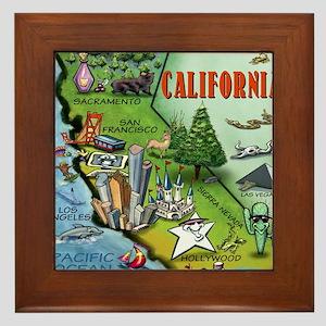 California Map Cartoon.California Cartoon Map Framed Tiles Cafepress