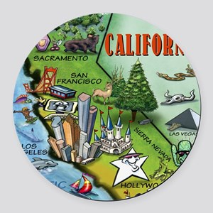 California Map Blanket Round Car Magnet