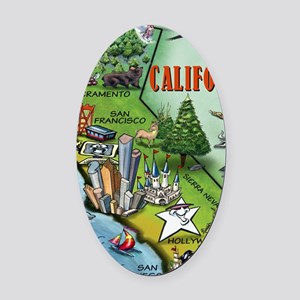 California Map Blanket Oval Car Magnet
