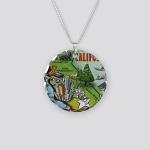 California Map Blanket Necklace Circle Charm