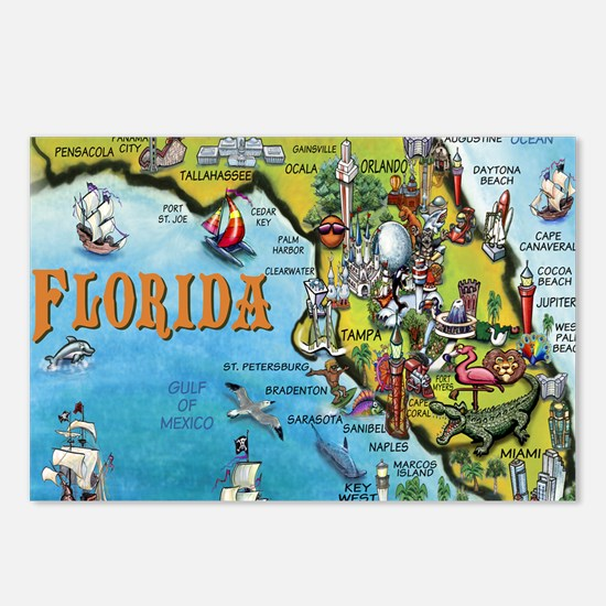 FloridaMap Blanket Postcards (Package of 8)