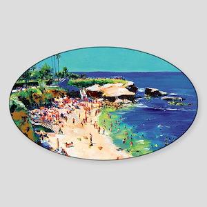 La Jolla Cove painting by RD Riccob Sticker (Oval)