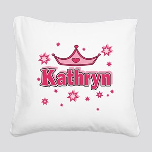 Kathryn Princess Crown Star Square Canvas Pillow