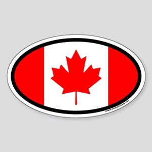 Maple Leaf Flag of Canada Euro Oval Sticker