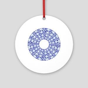drawnwork blue Round Ornament