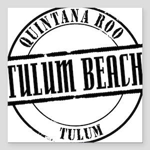 "Tulum Beach Title W Square Car Magnet 3"" x 3"""