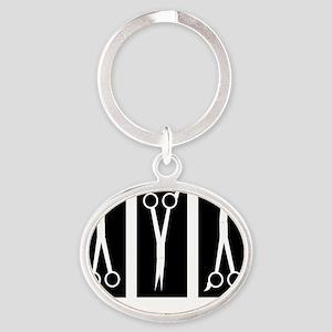 Stylist popart bw Oval Keychain