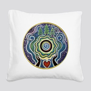 Earth Blessing Mandala Square Canvas Pillow