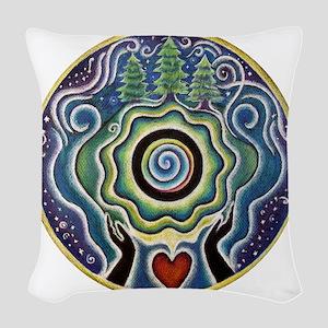 Earth Blessing Mandala Woven Throw Pillow