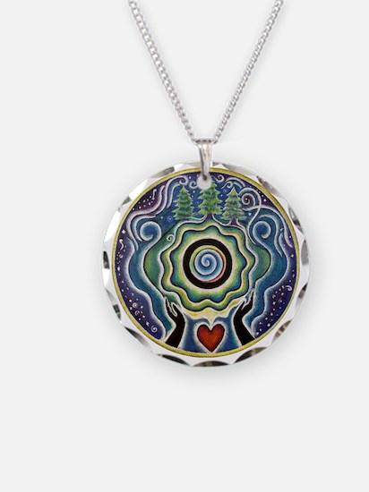 Earth Blessing Mandala Necklace Circle Charm