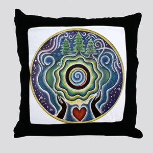 Earth Blessing Mandala Throw Pillow