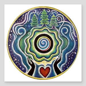 "Earth Blessing Mandala Square Car Magnet 3"" x 3"""