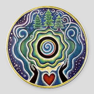 Earth Blessing Mandala Round Car Magnet