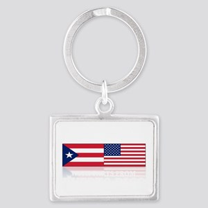made in puerto rico(blk) Landscape Keychain