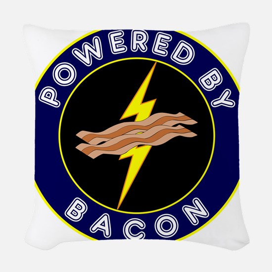 powered by bacon lightning 9 Woven Throw Pillow
