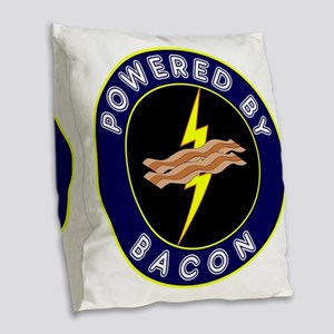 powered by bacon lightning 9 Burlap Throw Pillow