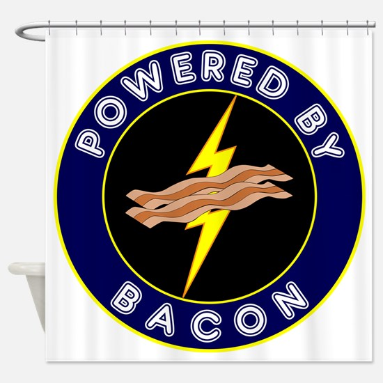powered by bacon lightning 9 Shower Curtain