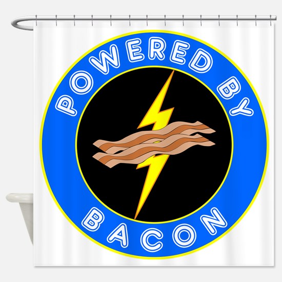 powered by bacon chip 8 Shower Curtain