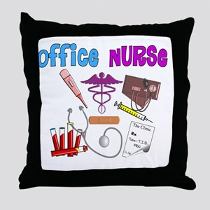 Office Nurse blue magenta Throw Pillow