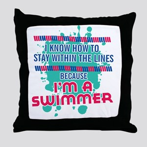 im a swimmer-01 Throw Pillow