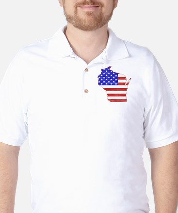 Wisconsin Flag Golf Shirt