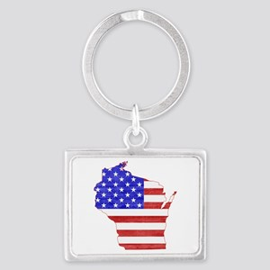 Wisconsin Flag Landscape Keychain