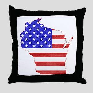 Wisconsin Flag Throw Pillow