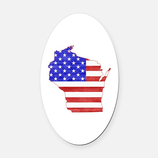 Wisconsin Flag Oval Car Magnet