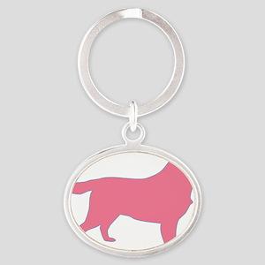 Pink Oval Keychain