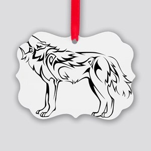 tribal_howling_wolf Picture Ornament