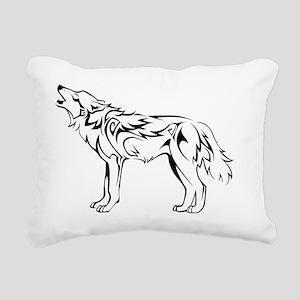 tribal_howling_wolf Rectangular Canvas Pillow