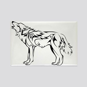 tribal_howling_wolf Rectangle Magnet