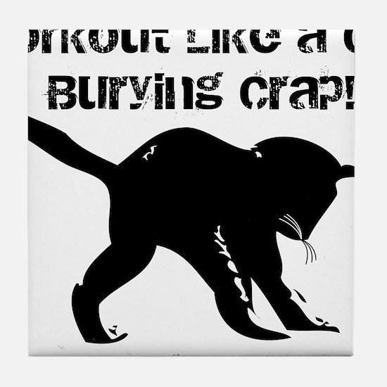 CAT CRAP - WHITE Tile Coaster