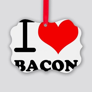 I Love Bacon Picture Ornament