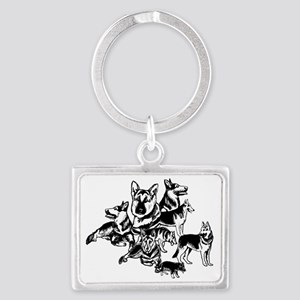 black and white GSD collage Landscape Keychain