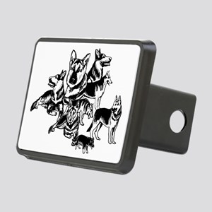 black and white GSD collag Rectangular Hitch Cover