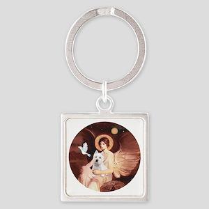 J-ORN-Angel1-Westie-P Square Keychain