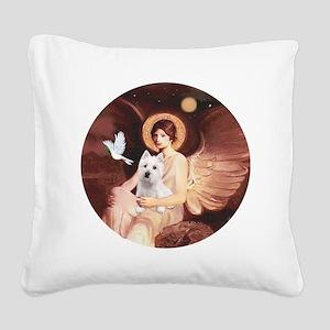 J-ORN-Angel1-Westie-P Square Canvas Pillow