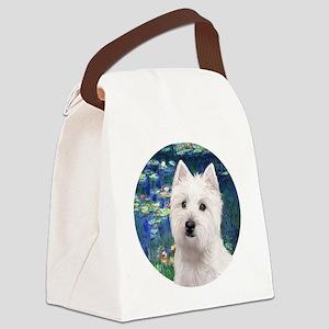 J-ORN-Lilies5-Westie11 Canvas Lunch Bag