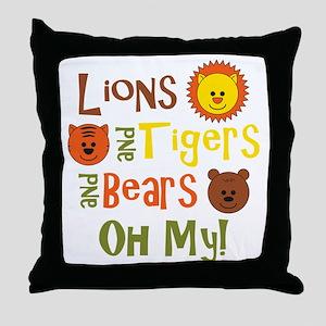 lionstigersbears Throw Pillow
