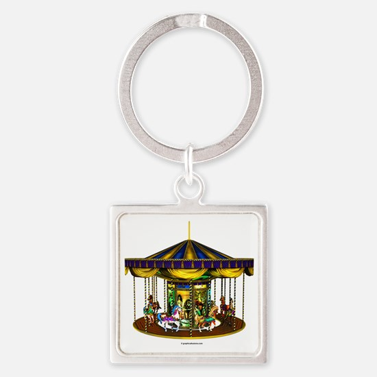 goldencarousel Square Keychain