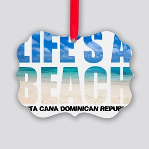 LIFESABEACH1_whtT Picture Ornament