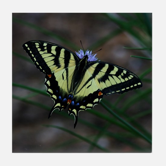 Yellow Butterfly 2 Tile Coaster