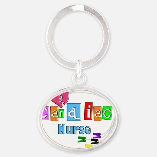 Cardiac Nurse EKG cables Oval Keychain